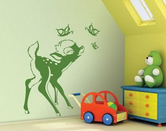 Wall sticker BAMBI AND BUTTERFLIES wall decal kids, kids room decal, nursery decal, children wall decals, teen room decor