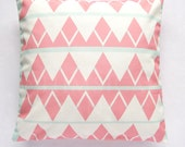 "Mint Green and Coral Triangles Cushion Cover/ Decorative Throw Pillow Cover /  (18""x 18"") / (45cm x 45cm)"