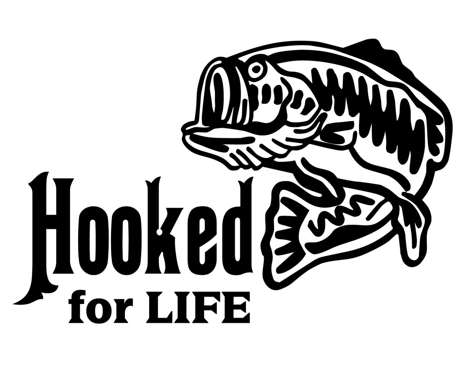 Hooked for life fishing decal bass fishing sticker for Fishing stickers and decals
