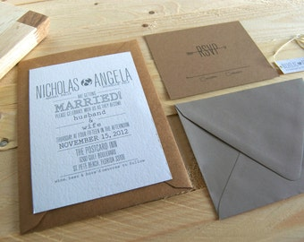 Rustic Arrow Wedding Invitation and RSVP Card