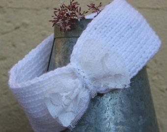 Bride ear warmer , White head-band , Winter bride , Knit ear warmer , Knit head-band , Hair accessory , Wedding hair band , Turban headband