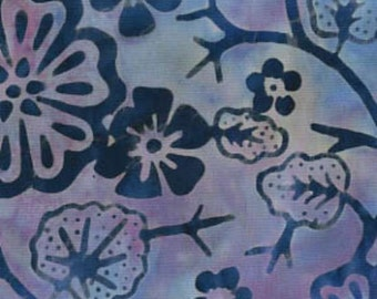 Galaxy Fabrics, Java Batiks (316), Blue/Purlple Flowers and Leaves, Quilt Fabric