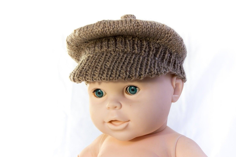 Knitting Pattern For Flat Hat : KNITTING PATTERN PDF Newsboy Cap Brimmed Cap Baby Boy Cap