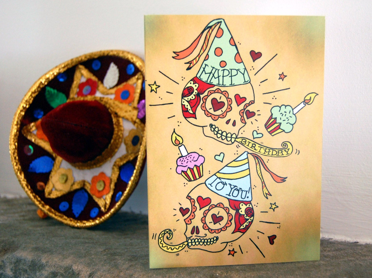 sugar skull happy birthday card day of the dead mexican, Birthday card