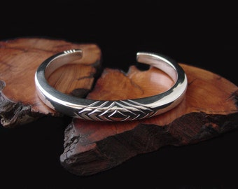 Super Heavy 0 gauge Men's Cuff Bracelet Hand Forged in Solid Sterling Silver ... Made to Order