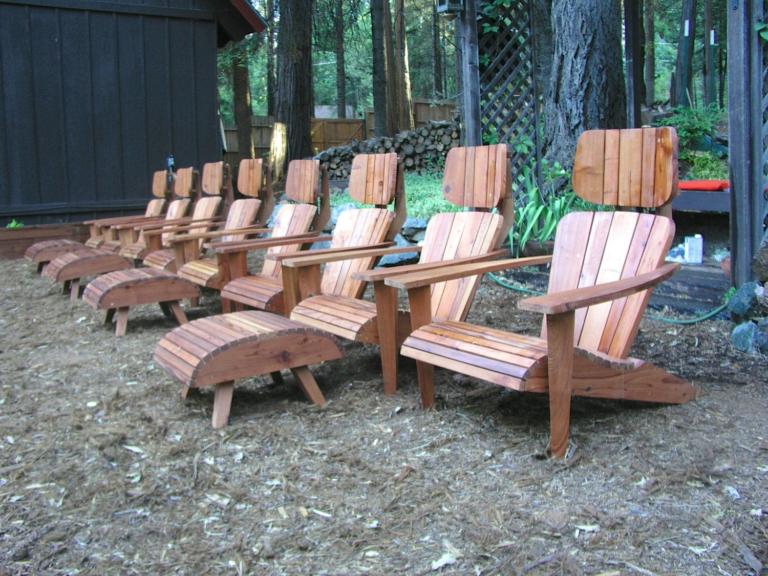Set Of 8 Modern Adirondack Chairs With 4 Ottomans And 4 End