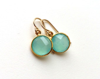 Aqua Chalcedony Gold Earrings, Dangle, Aqua Mint Chalcedony Earring, Gold Filled Wires, Aqua Delicate Earrings