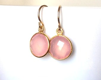Pink Chalcedony Gold Earrings, PINK Chalcedony Earring, Gold Filled Wires, Pink Delicate Earrings