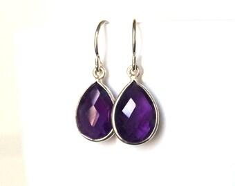Amethyst Silver Earrings, Amethyst Birthstone Earrings,