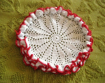 Red edge white doily, ruffled edge doily, 3 D doily, 10 inch doily, country cottage decor, hand made doily