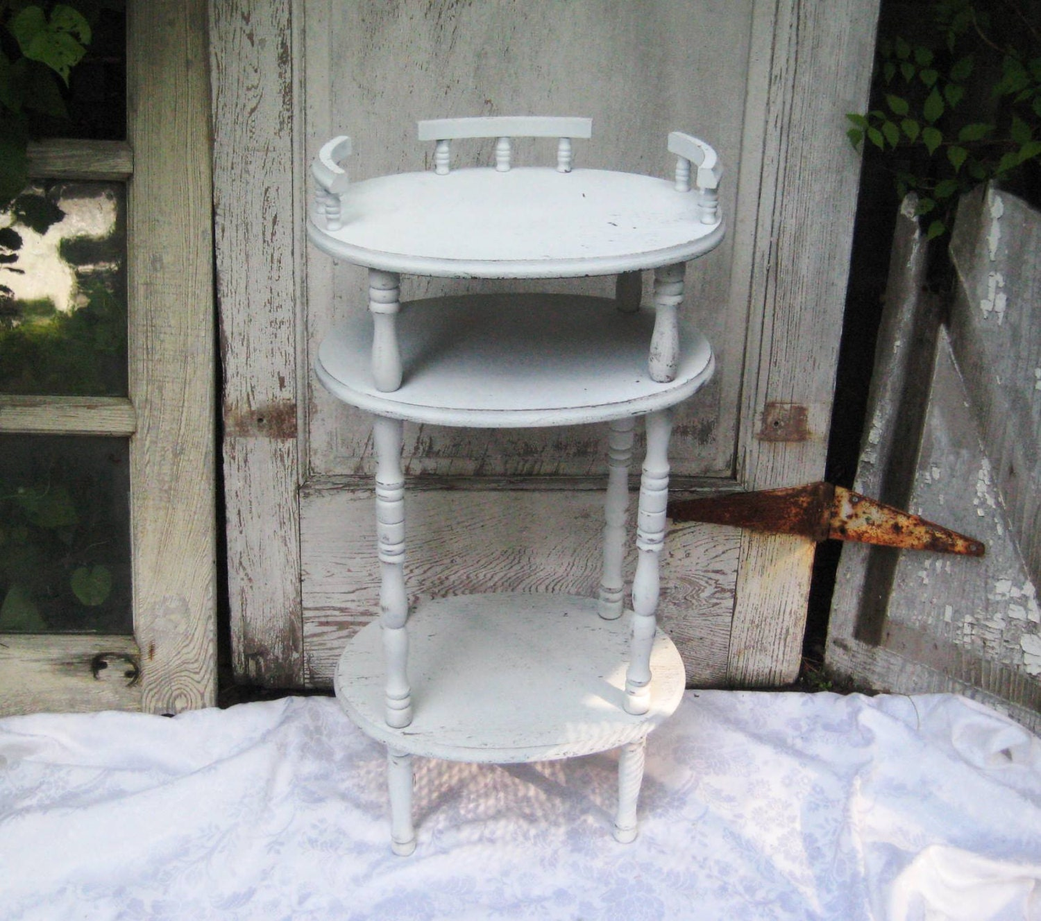 Tall white distressed table side table accent table small for Tall white side table