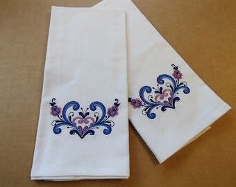 TWO Embroidered White Cotton Dish Towels Rosemaling Hearts #DT355WHT