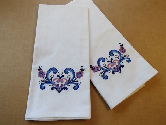 TWO Embroidered White Cotton Dish Towels Rosemaling Hearts DT355WHT