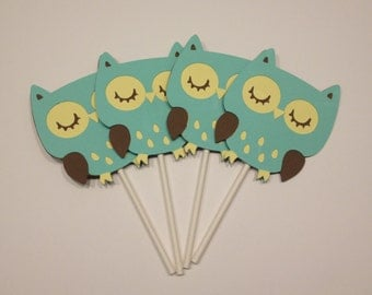 12 Green and Yellow Owl Cupcake Toppers