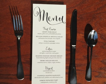 Printed wedding menu cards, wedding menu card, wedding dinner menu, wedding reception menu