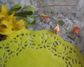 "8"" Inch Round YELLOW Paper LACE Doilies Craft Cards Valentines 10 Pcs FLORAL  Border"