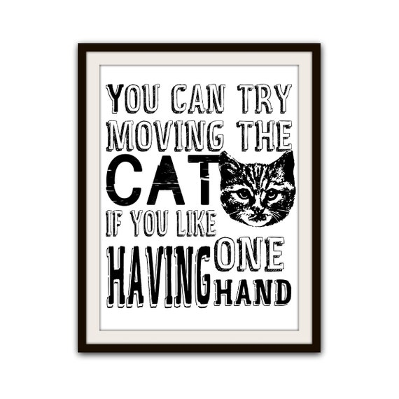 Items similar to funny cat lover typography poster home for Funny home decor
