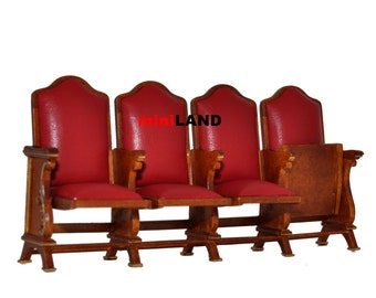 Miniature quad seats THEATRE CHAIR dollhouse cinema 1:12 red leather #0721-4