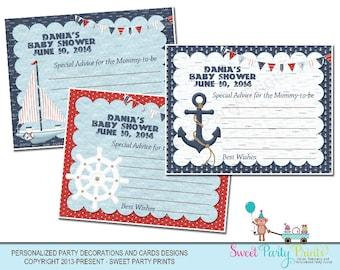 Nautical Baby Shower Advice / Wishes Card Design ( SKU: NBAC01 )