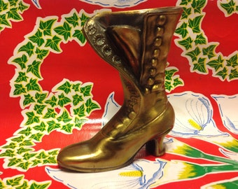 Vintage brass Victorian button up shoe or boot