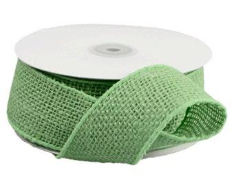 "2"" Wired Green Burlap Ribbon- 10 Yard"