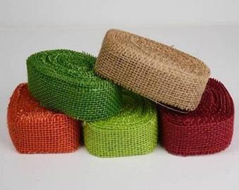 """10 Yards, 1.5"""" Burlap Ribbon Assorted Colors (5 Pack)"""