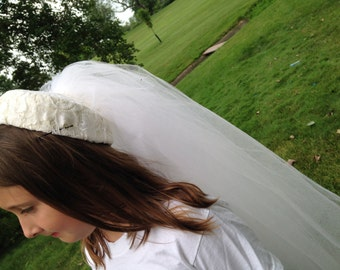 Vintage Bridal Pillbox Hat and Veil