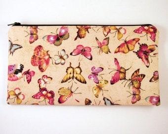 Beige Butterfly Zipper Pouch, Cosmetic Pouch, Gadget Bag, Pencil Pouch