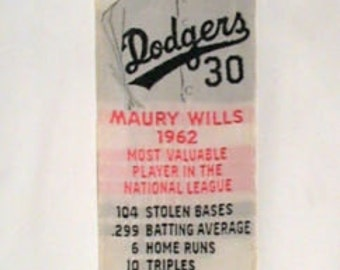 MAURY WILLS Rare Dodgers Bookmark 1962 MVP National League