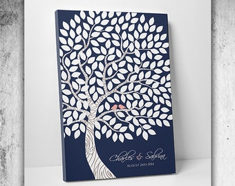 Custom Wedding Guestbook - Wedding Tree Guest Book - 55-300 Guest Sign In - Canvas or Print -