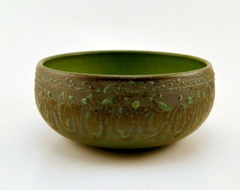 Hand thrown studio pottery bowl in teal