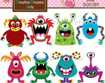 40% Off! Monsters Digital Clip Art Instant Download