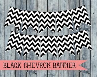 Black Chevron Banner DIY Party Decor Printable Banner Chevron Party Decor Printable Party