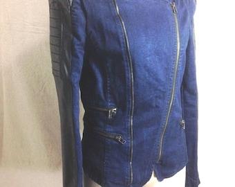 Slim Fit  Cropped Denim with PU Moto Jacket