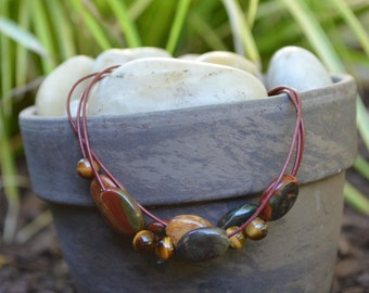 SALE Leather Bracelet: Red Cord with Various Earth-Tone Beads ~ Handmade