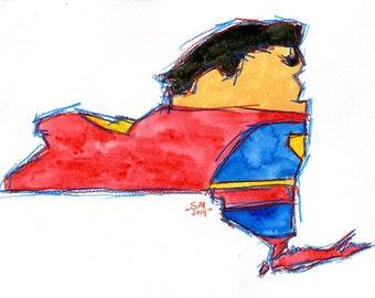 New York Capes Watercolor Portrait: Superman
