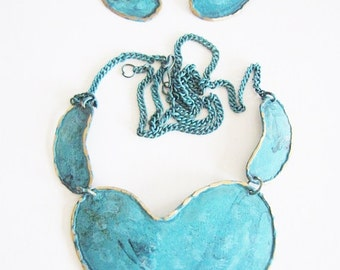 Boho Hippie Necklace Large Earrings Jewelry Set Dangle Earrings Statement Summer Necklace Turquoise Blue Necklace & Earrings Gifts For Her