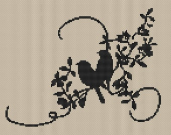 Silhouette Two Birds Counted Cross Stitch Pattern PDF Instant Download