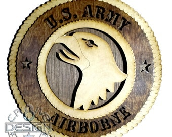 Army 101 Airborne Screaming Eagle wooden 10.5 inch plaque