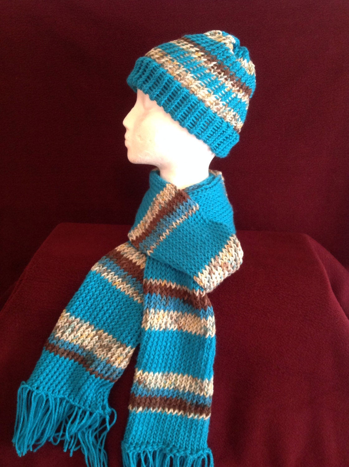 Knitting Loom Scarf Fringe : Loom Knitted Beanie Hat & Scarf Set in Turquoise Beige and