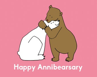 Happy Annibearsary | Anniversary Greeting Card | Animal Pun