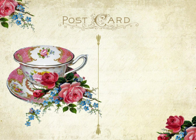Digital Tea Party Invitation Tea Party Postcard Printable