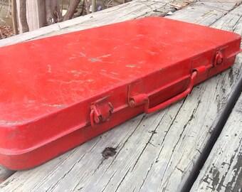 Red Acme Brand Slim Tool Box