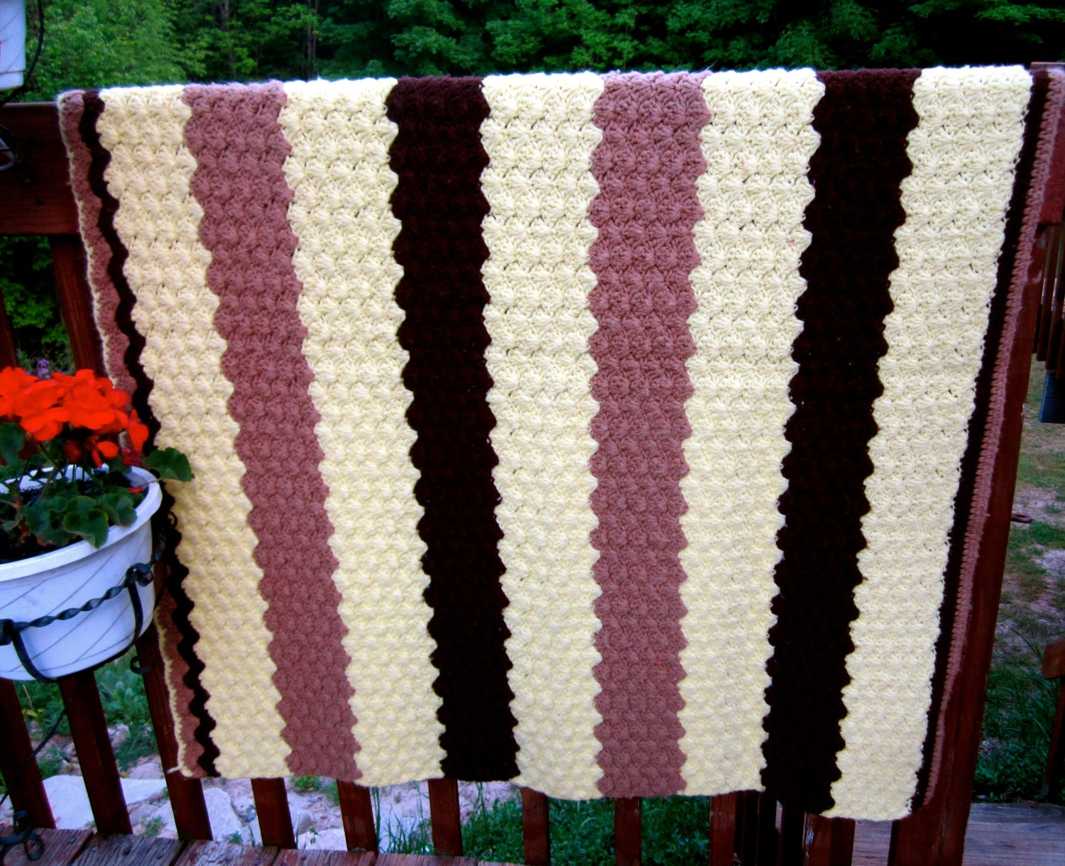 Vintage Hand Crocheted Afghan. wide stripes in yellow and