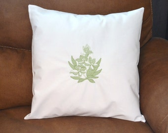 "White embroidered throw pillow cover, 18"" x 18"""