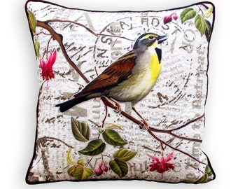 """Quilted throw pillow,bird print, embroidery and embossed, quilted, botanical look, vintage, standard size 16""""X16""""pillow cover"""