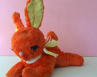 Cutest Vintage 1950s GUND Rayon Orange Plush Stuffed Toy SLEEPING BUNNY Perfect Condition