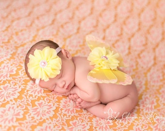 Pink and Yellow Butterfly Wing Set, Newborn Wings, Newborn Wing Prop, Baby Wing Prop, Newborn Photo Prop, Newborn Butterfly Wings