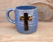 Blue Mug with Black Cross Design. Religious Christian Coffee Cup. Wheel-thrown Stoneware Pottery.