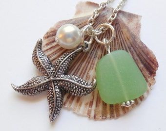 Spring Green Sea Glass Necklace, Charm necklace, Pearl, Starfish Necklace, bridesmaid necklace, beach wedding. FREE SHIPPING within the U.S.